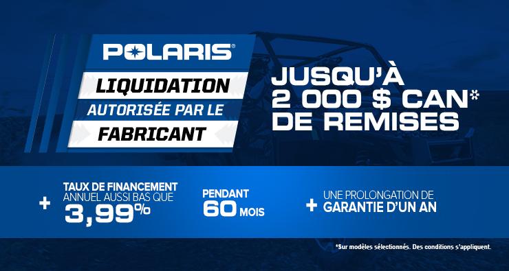 Liquidation autorisée par le fabricant – Polaris